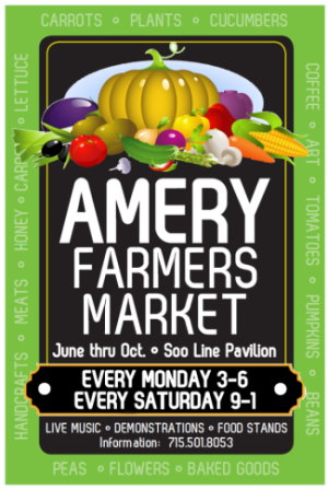 Amery Farmer's Market - June thru October - Soo Line Pavilion