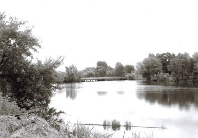 Black and white photo of a lake